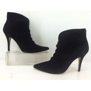 Nicole Miller Black Suede Button Detail Ankle Boot